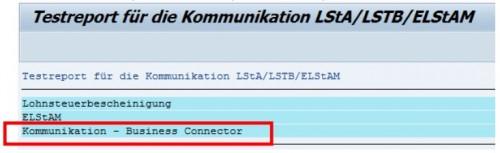 Testreport für die Kommuniaktion LStA/LSTB/ELStAM